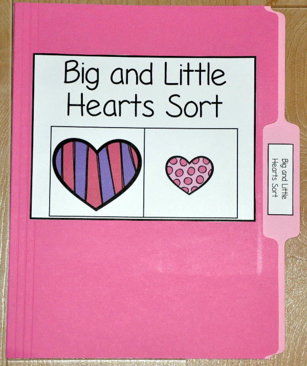 Big and Little Hearts Sort File Folder Game