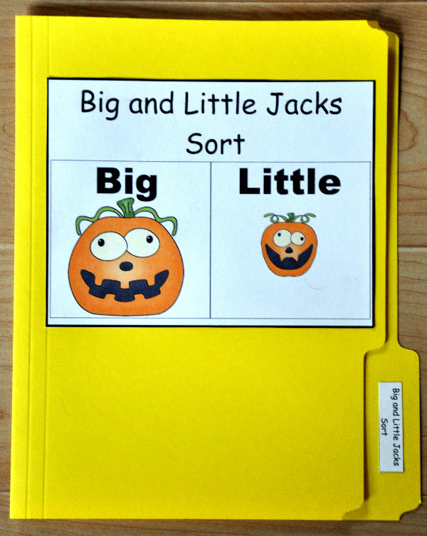 Big and Little Jacks Sort File Folder Games