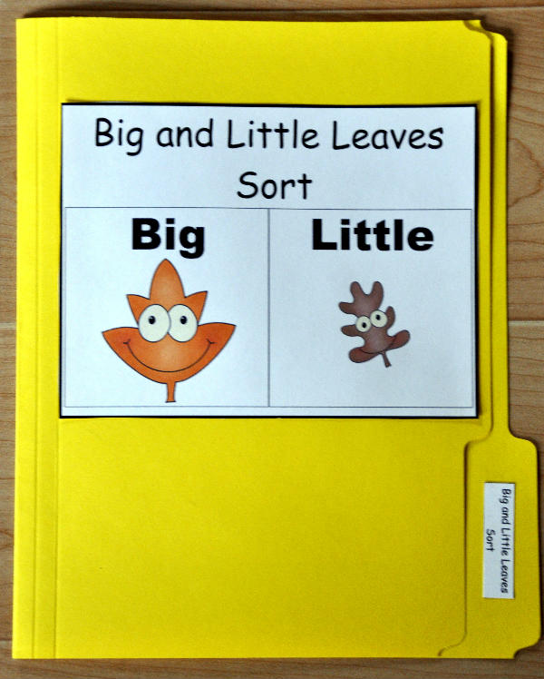 Big and Little Leaves Sort File Folder Game