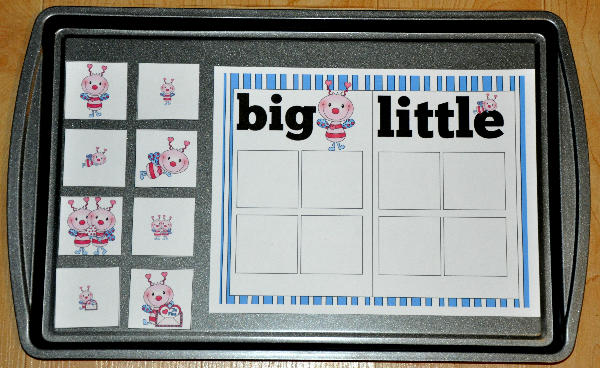 Big and Little Love Bugs Sort Cookie Sheet Activity