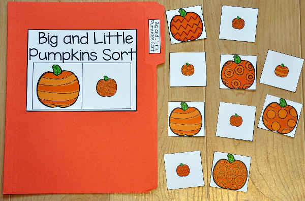 Big and Little Pumpkins Sort File Folder Game
