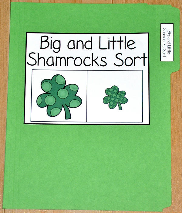 Big and Little Shamrocks Sort File Folder Game