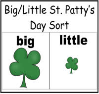 Big and Little St. Patty's Day Sort File Folder Game