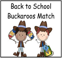 Back to School Buckaroos Match File Folder Game
