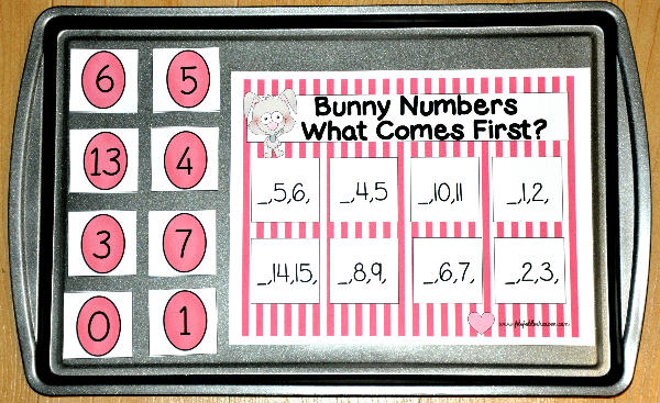"""Which Number Comes First?"" Bunny Cookie Sheet Activity"
