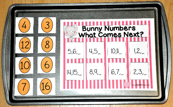 """Which Number Comes Next?"" Bunny Cookie Sheet Activity"