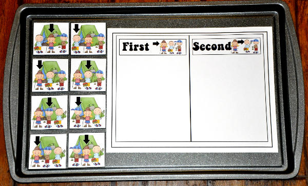"""First or Second"" Camper Sort Cookie Sheet Activity"