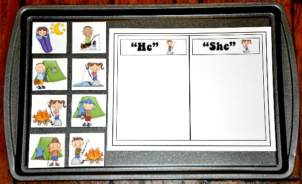"""He or She"" Campers Sort Cookie Sheet Activity"