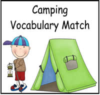 Camping Vocabulary Match Up FIle Folder Game