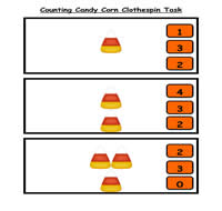 Counting Candy Corn Clothespin Task