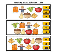 Counting Fall Clothespin Task