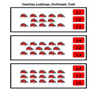 Counting Ladybugs Clothespin Task