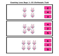 Counting Love Bugs Clothespin Task