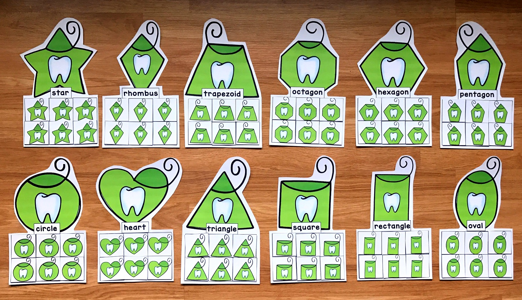 Dental Floss Shapes Sorting Mats (For Dental Health Month)