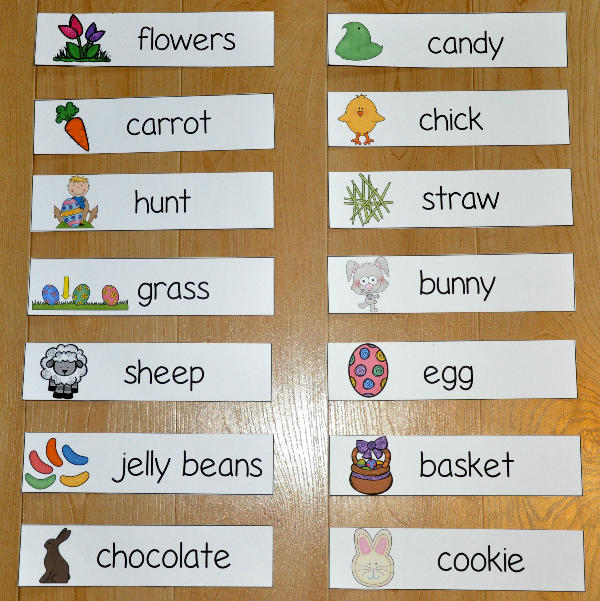 Easter Themed Visual Word Wall Words