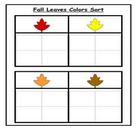 Fall Leaves Color Sorting Task