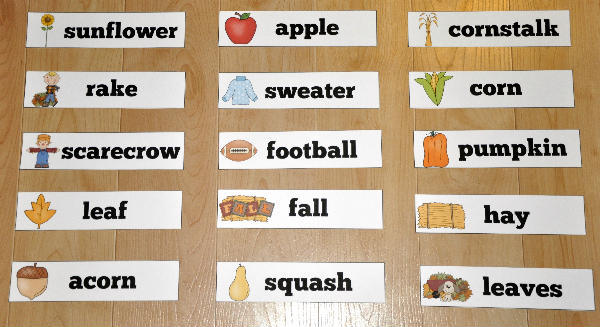 Fall Themed Visual Word Wall Words