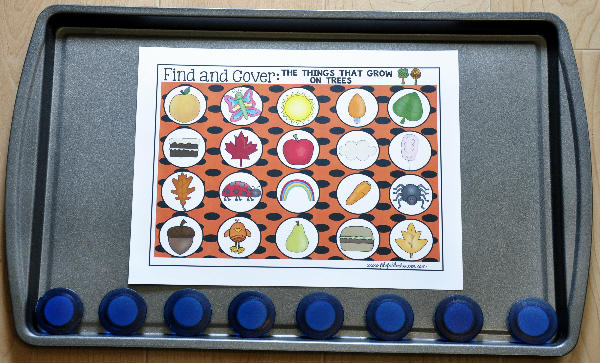 "Fall Themed ""Find and Cover"" Cookie Sheet Activities"