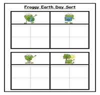 Froggy Earth Day Four Column Sorting Task