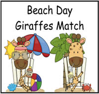 Beach Day Giraffes Match File Folder Game
