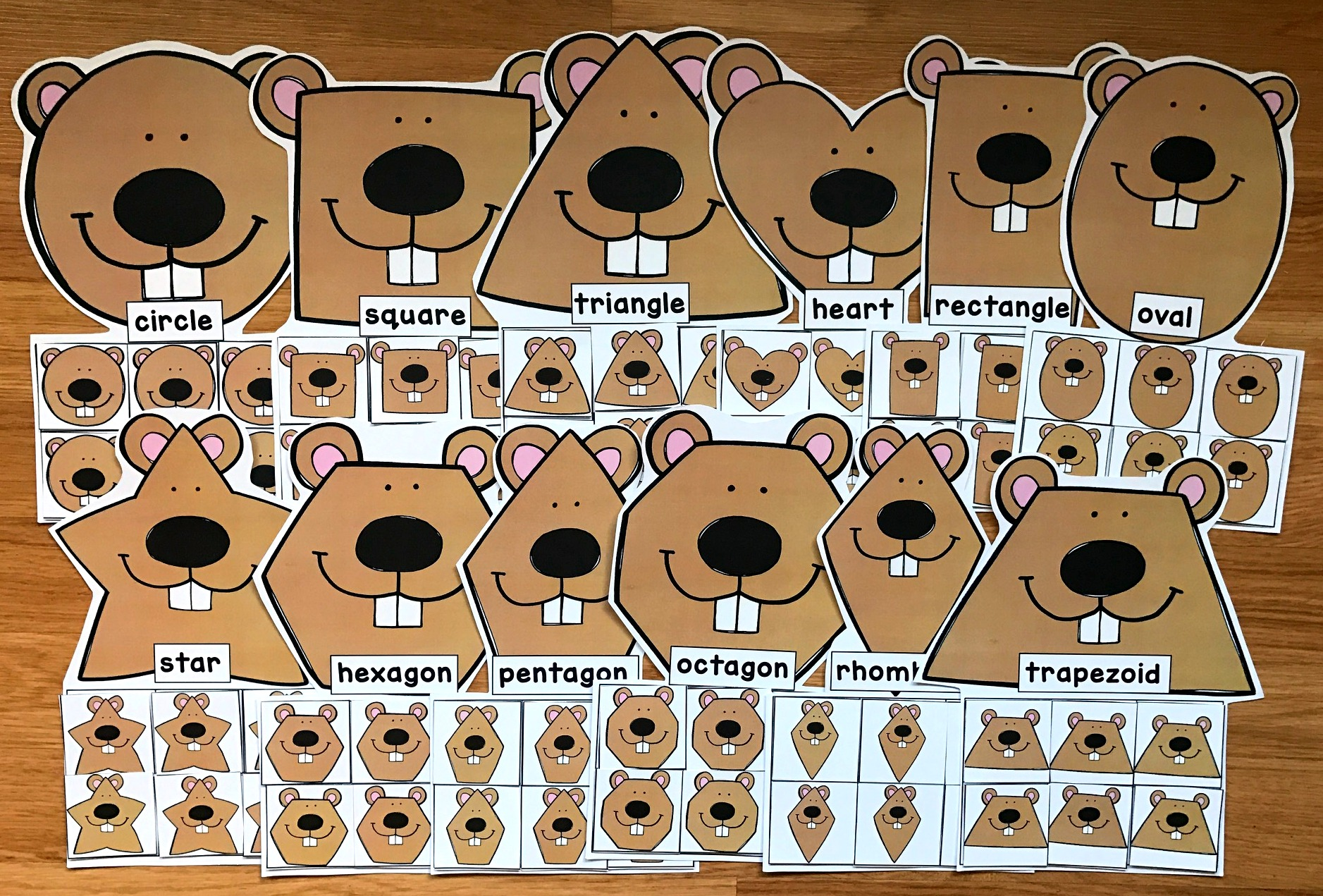 Groundhog Shapes Sorting Mats
