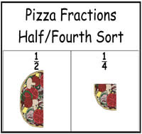 Pizza Fractions: One-Half/One-Fourth Sort File Folder Game ...