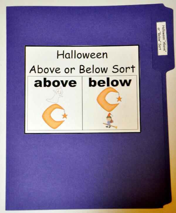 halloween above or below sort file folder game - Halloween File Folder Games