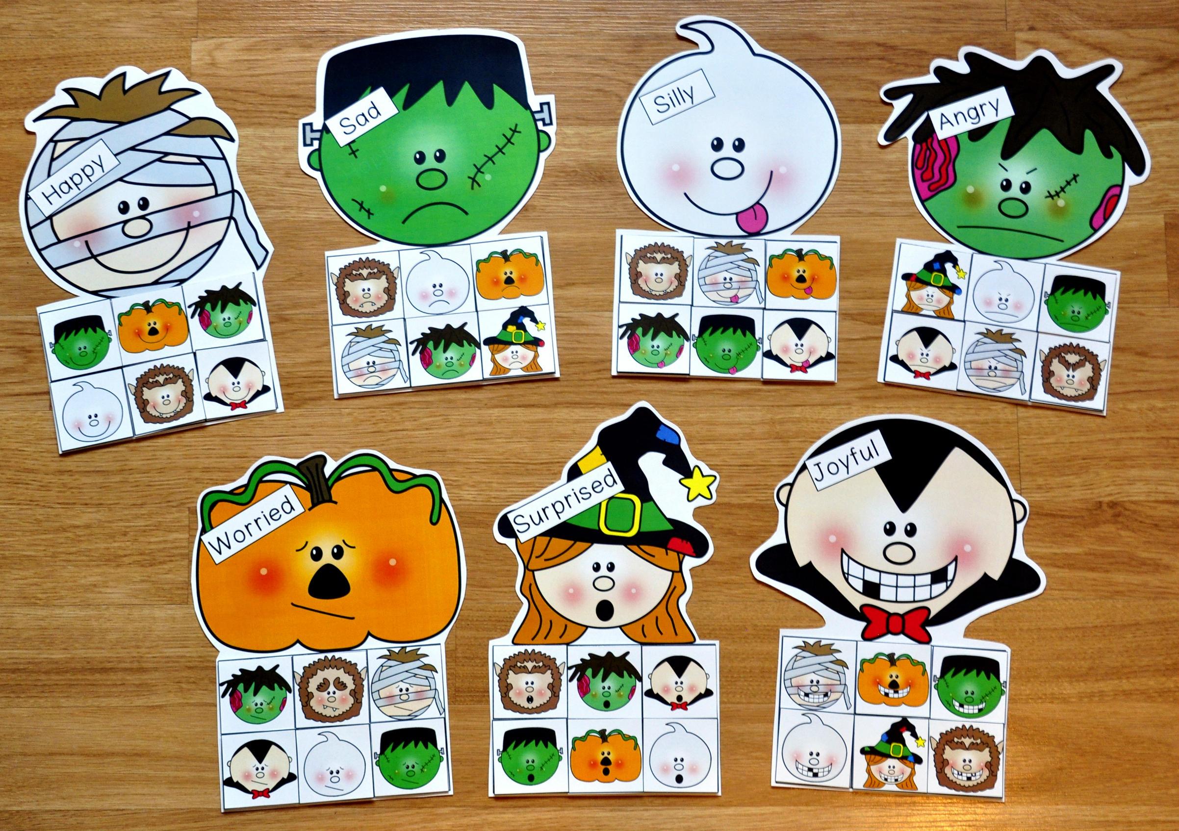halloween emotions sorting mats - Halloween File Folder Games
