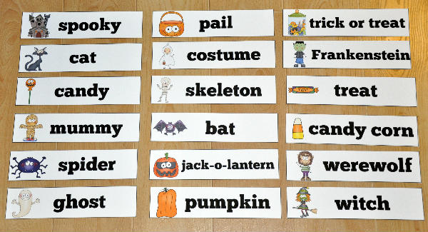 halloween themed visual word wall words
