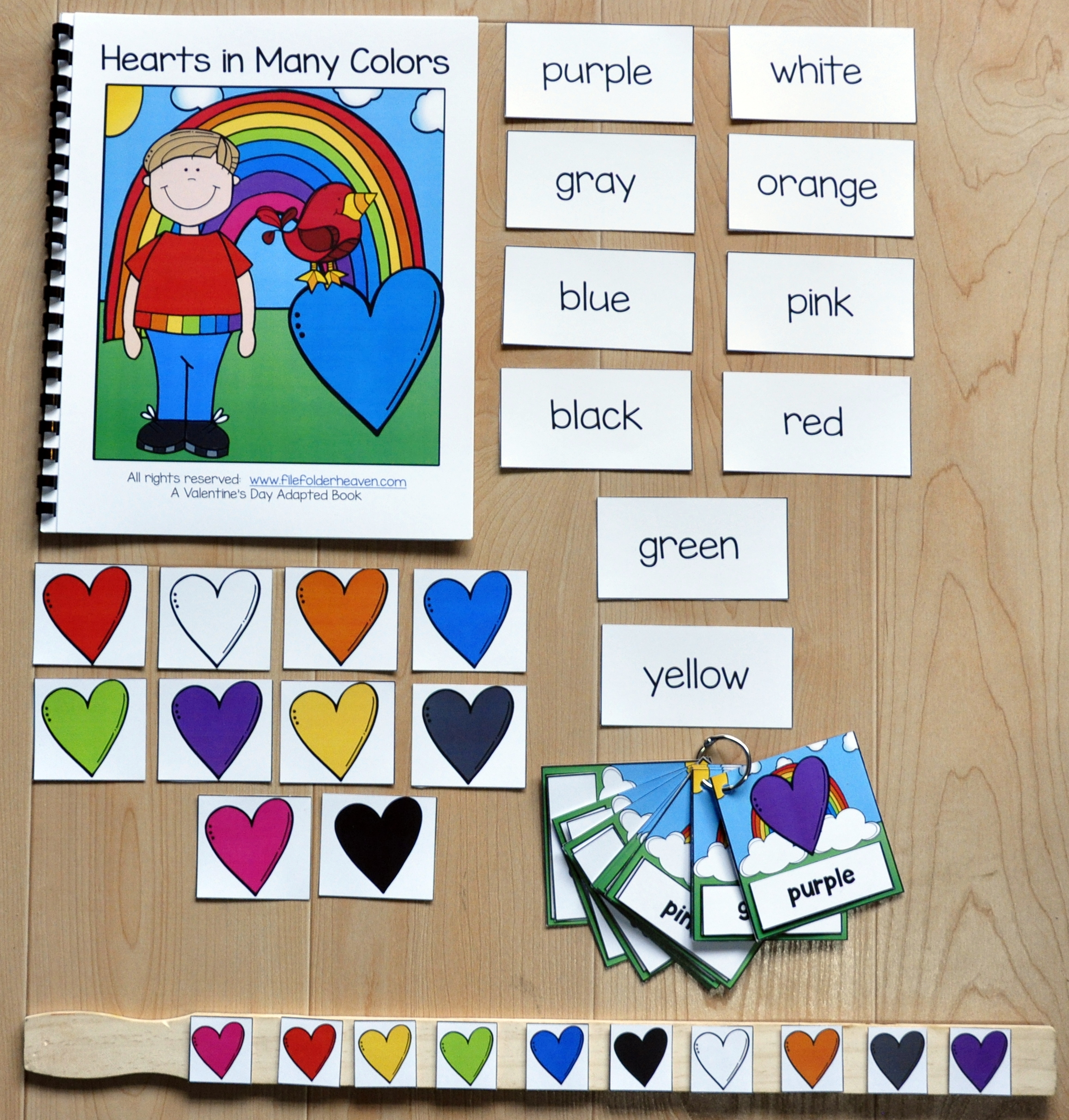 Hearts in Many Colors Adapted Book And Vocabulary Activities