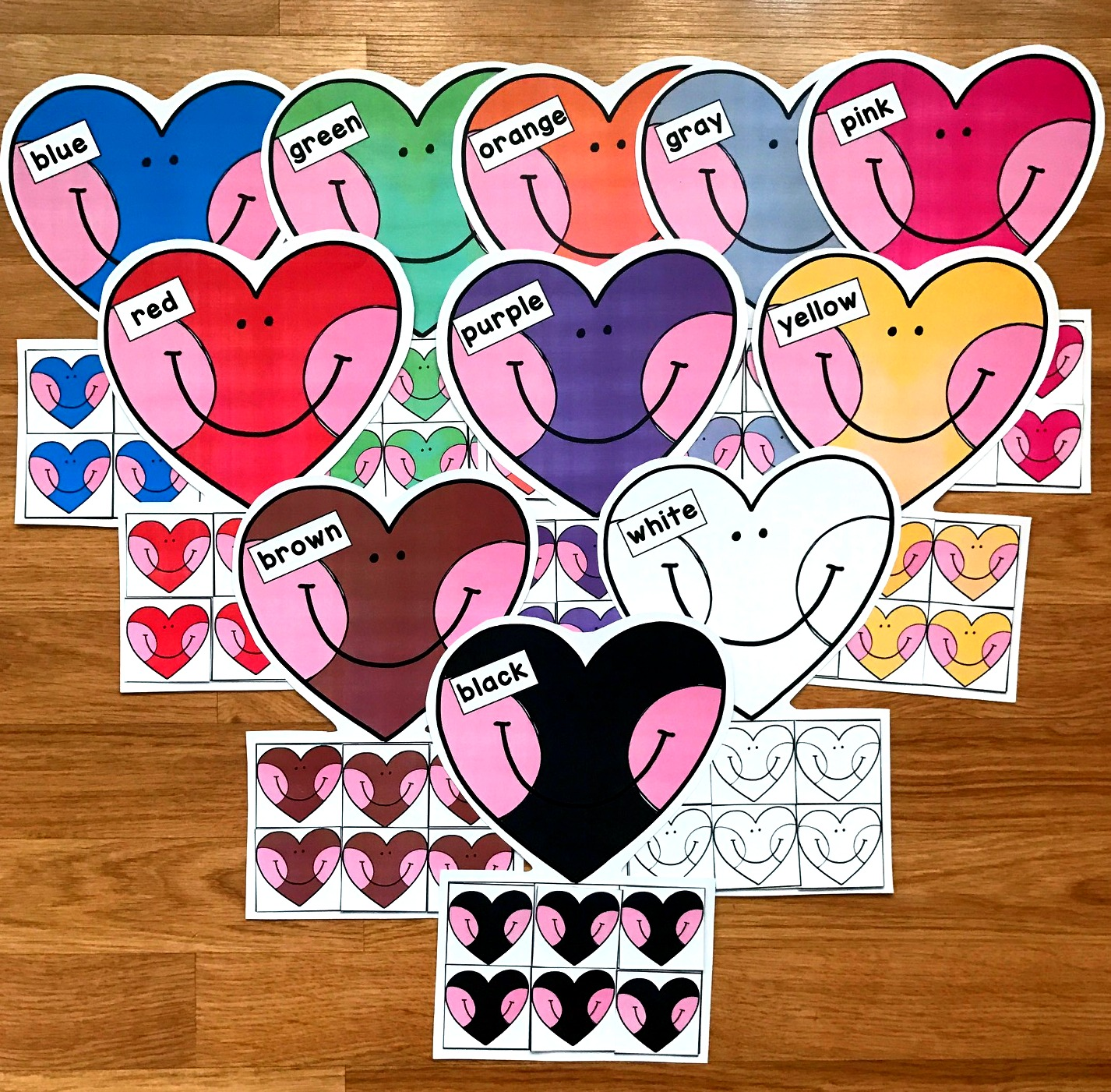 Heart Colors Sorting Mats