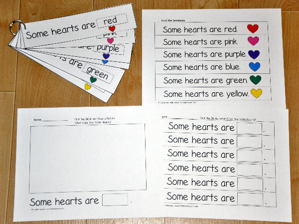 Colored Hearts Fluency Flipstrips Activities