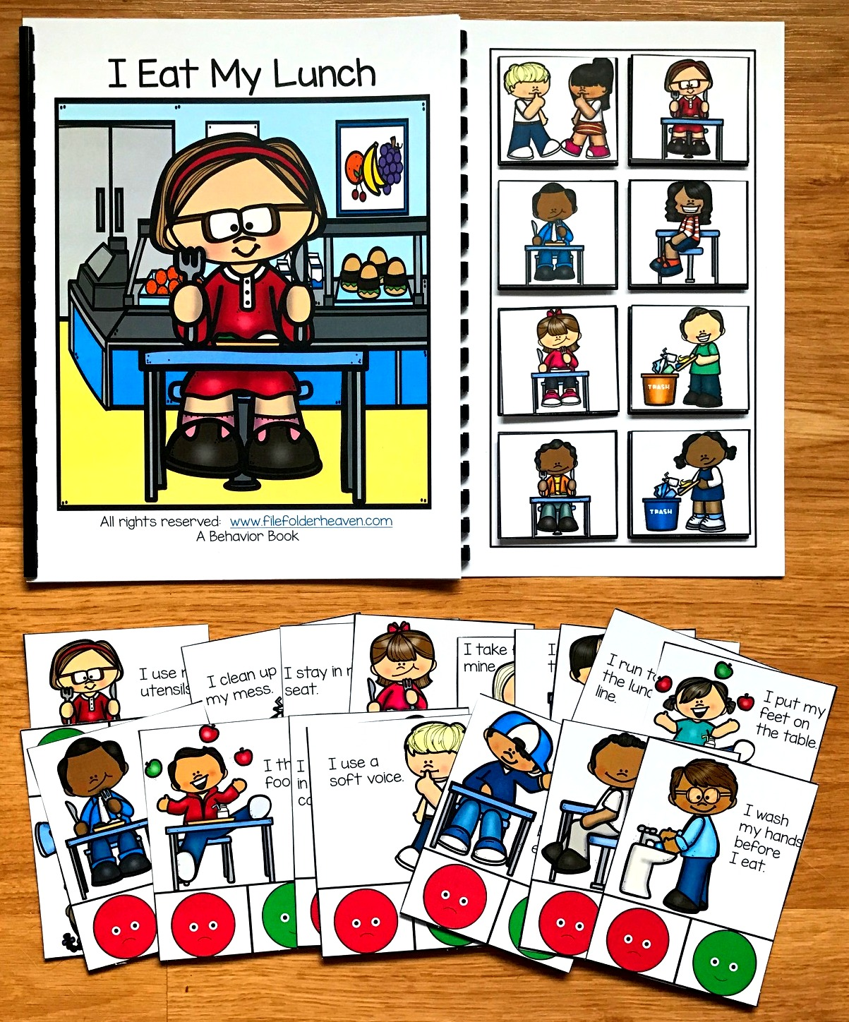 "Cafeteria Behavior Adapted Book and Task Cards ""I Eat My Lunch"""