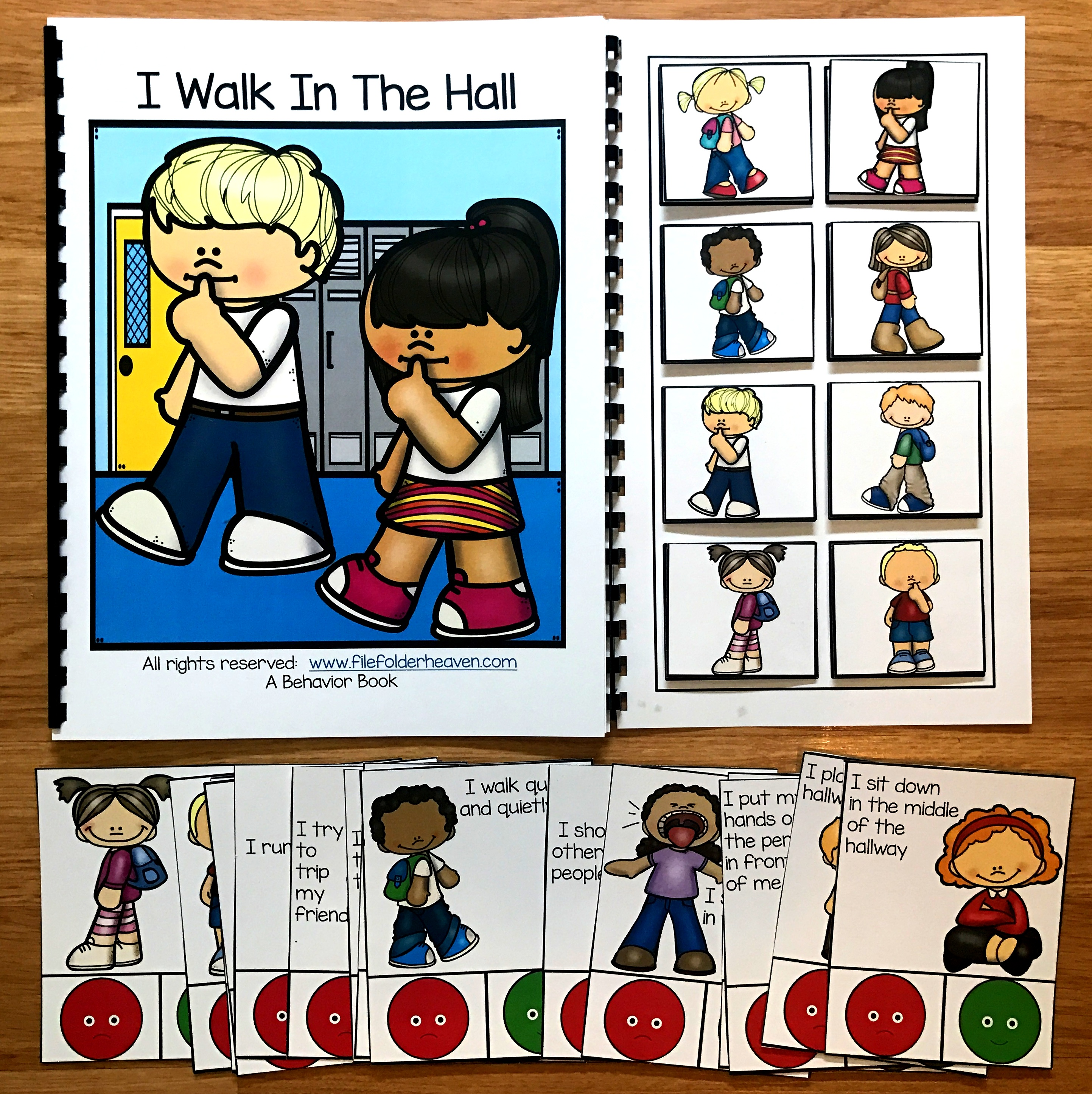 "Hall Behavior Adapted Book and Task Cards ""I Walk In The Hall"""
