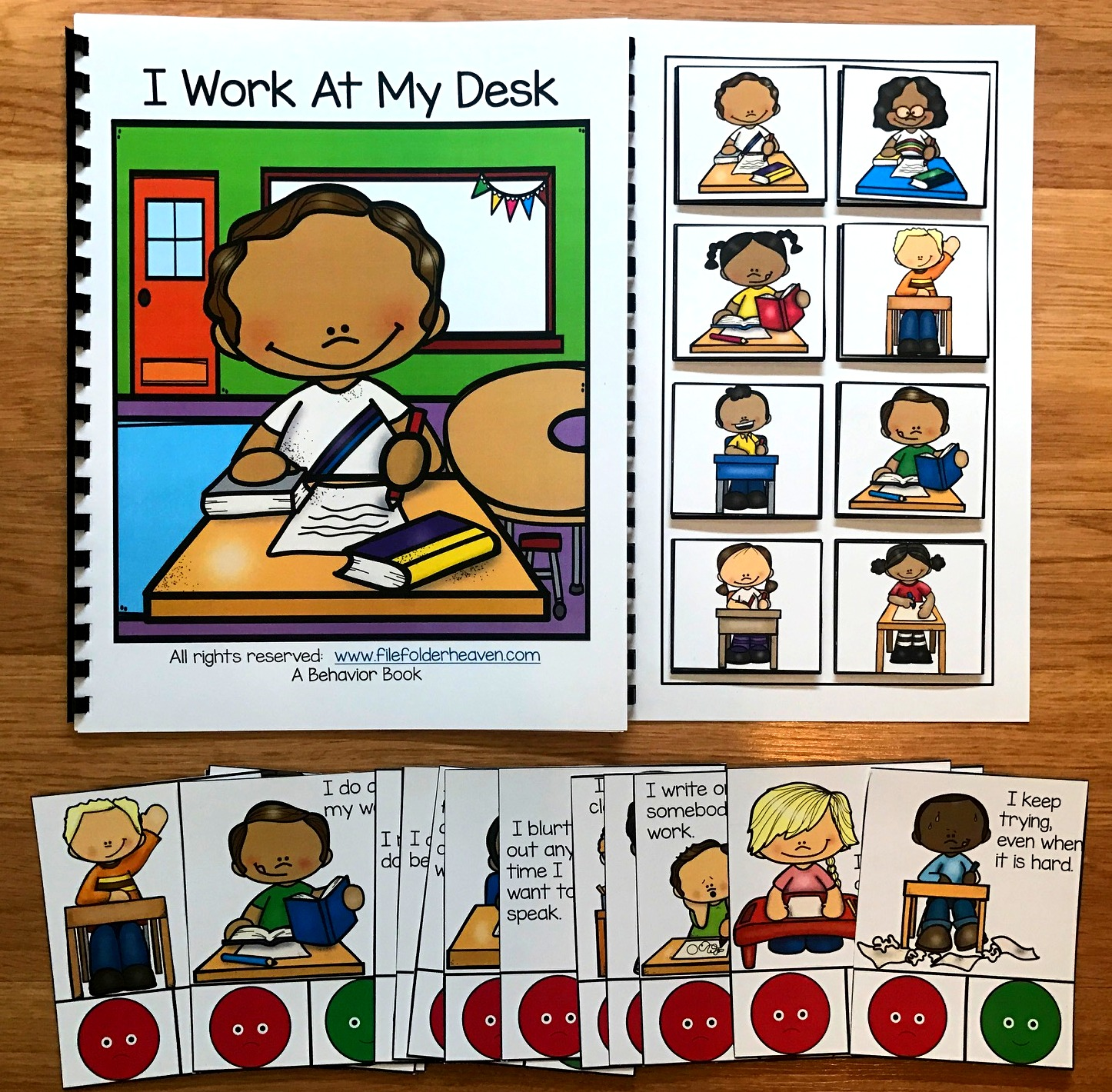 "Desk Behavior Adapted Book and Task Cards: ""I Work At My Desk"" - Click Image to Close"