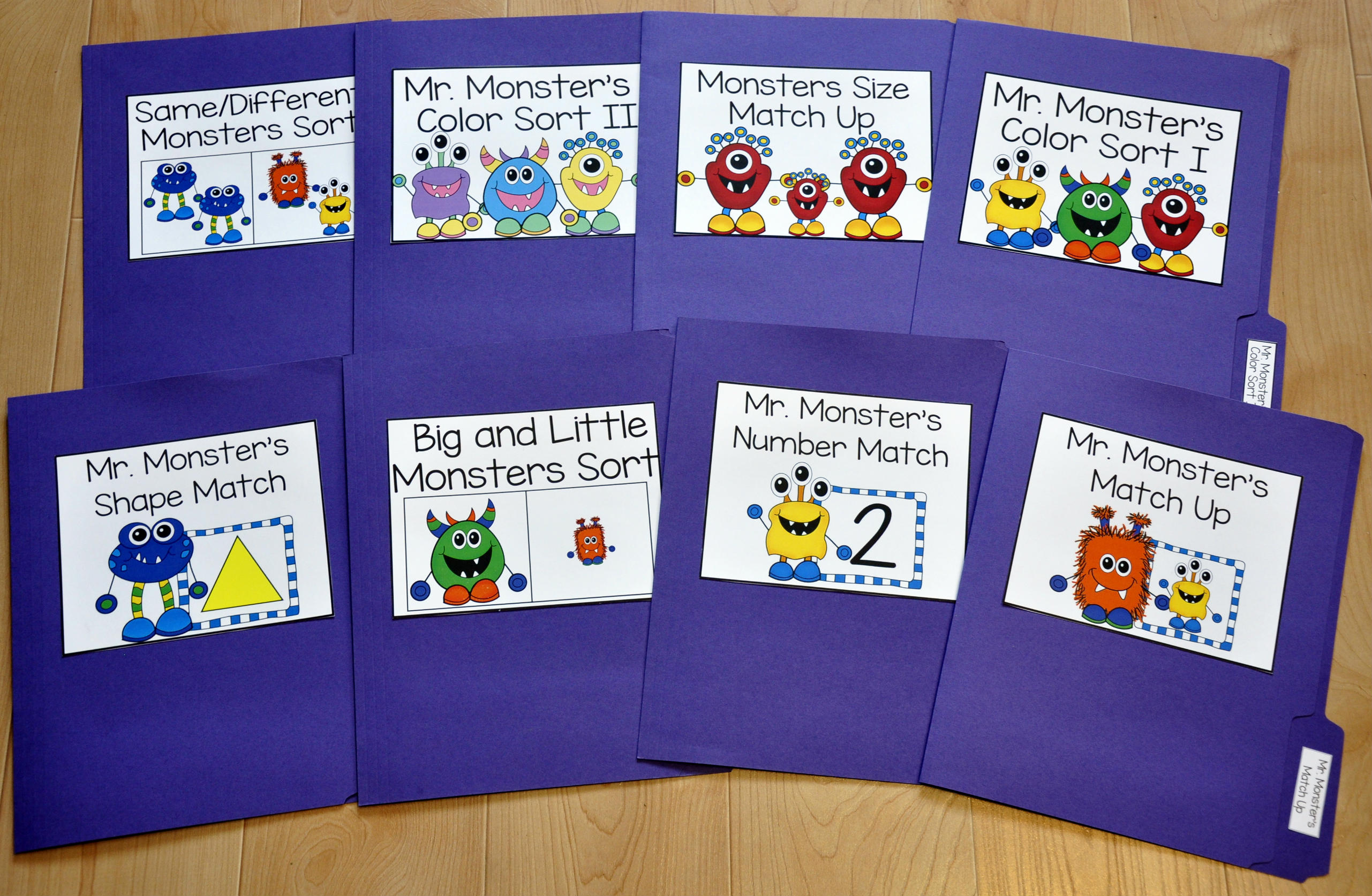 Monster Themed Matching and Sorting File Folder Games
