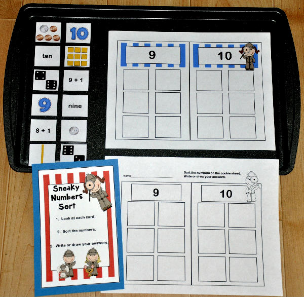 """Sneaky Numbers"" 9 and 10 Cookie Sheet Activity"