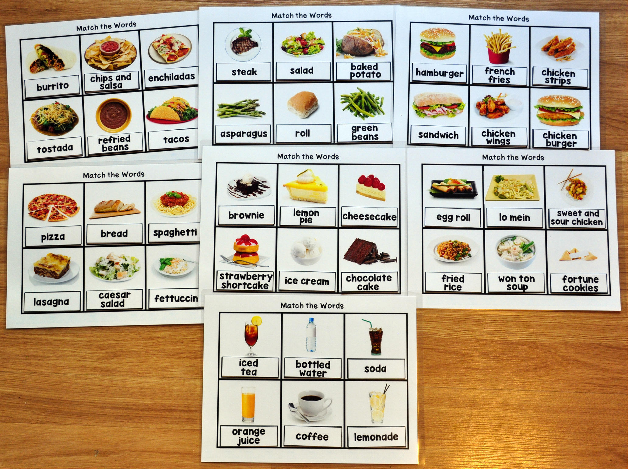 Functional Sight Words Matching Mats 2: Restaurant Words