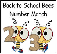 Back to School Bees Number Match File Folder Game