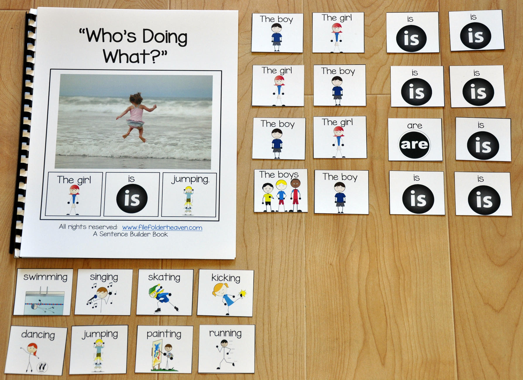 "Sentence Builder Adapted Book--""Who's Doing What?"""