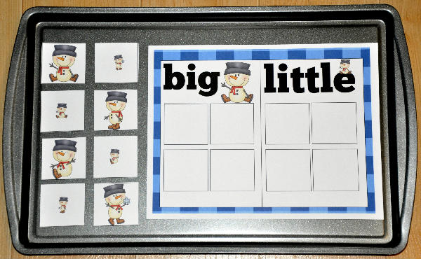 Big and Little Snowmen Sort Cookie Sheet Activity - $1.00 : File ...