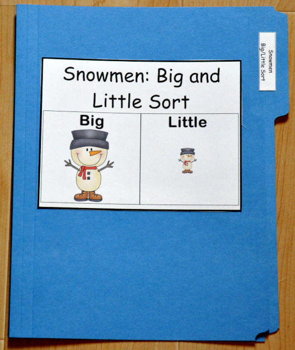 Big and Little Snowmen Sort File Folder Game