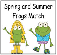 Spring and Summer Frogs Match File Folder Game