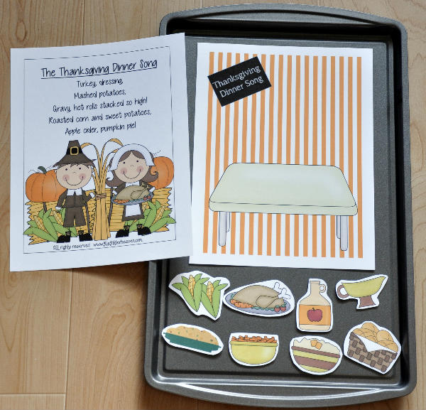 """The Thanksgiving Dinner Song"" Cookie Sheet Activity"