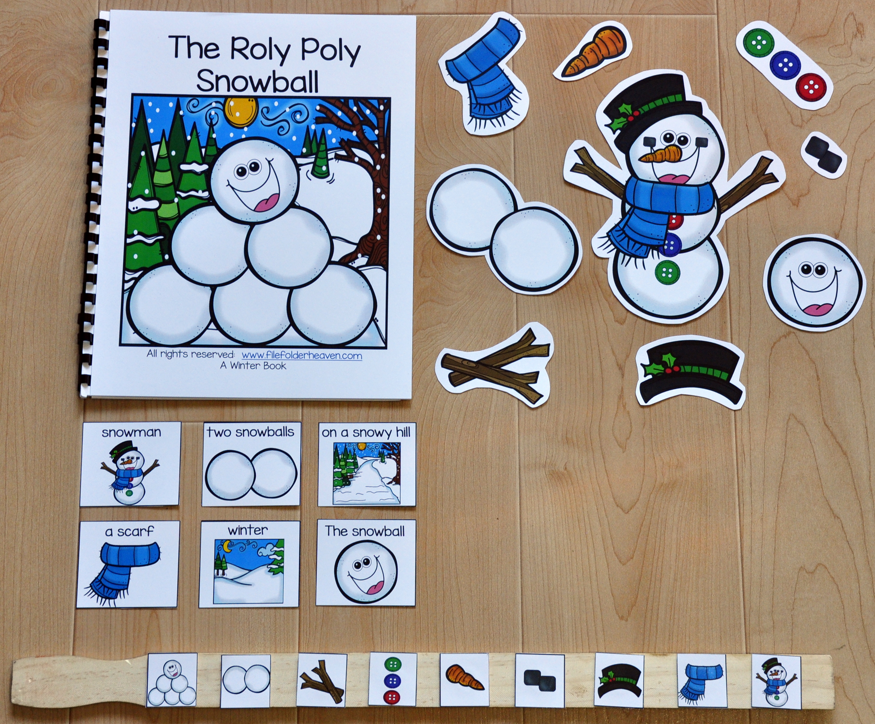 """The Roly-Poly Snowball"" Adapted Book (w/Wh-Questions)"