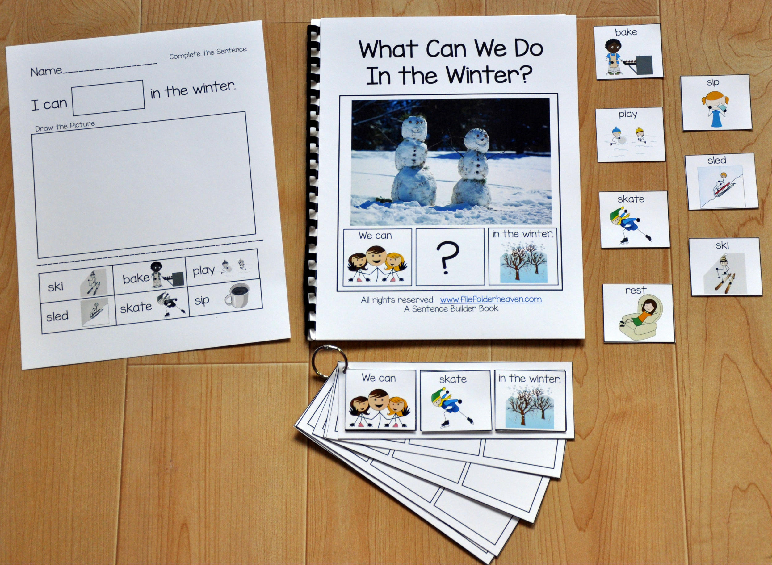 "Sentence Builder Adapted Book--""What Can We Do In the Winter?"""