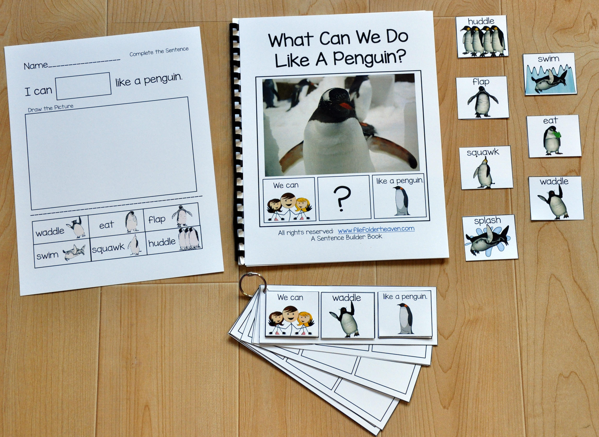 "Sentence Builder Adapted Book--""What Can We Do Like A Penguin?"""