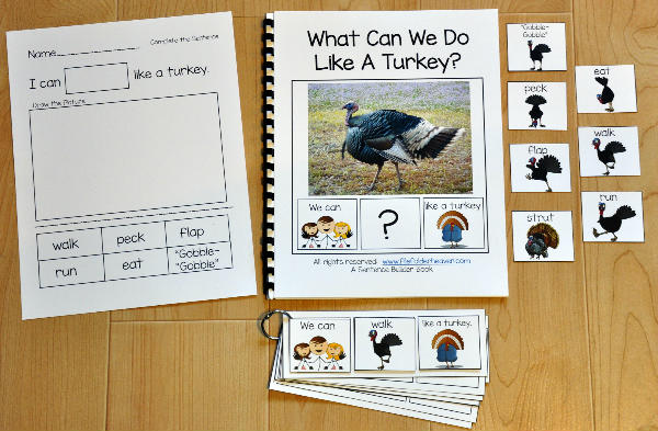 "Sentence Builder Adapted Book--""What Can We Like a Turkey?"""