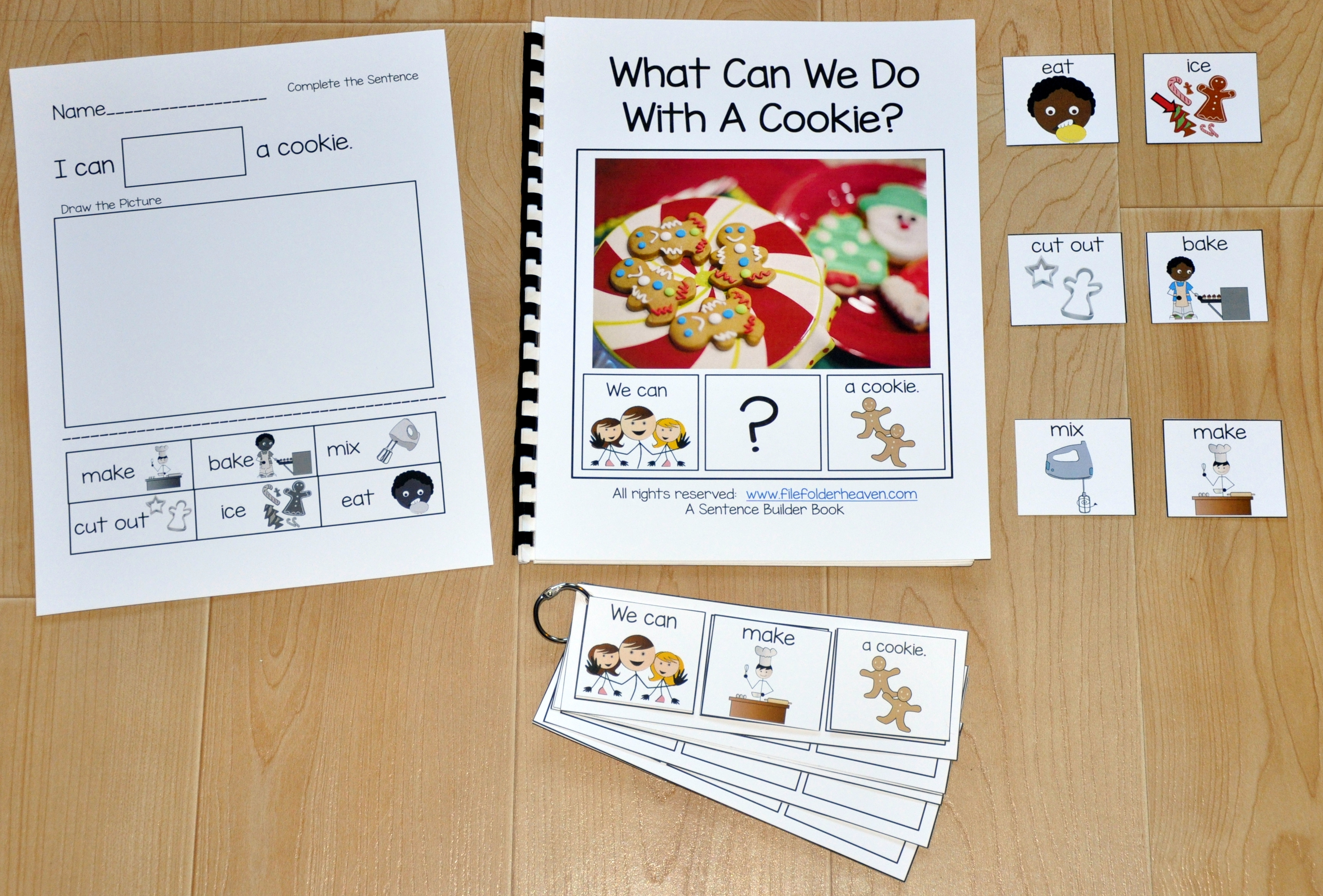 "Sentence Builder Adapted Book--""What Can We Do With A Cookie?"""