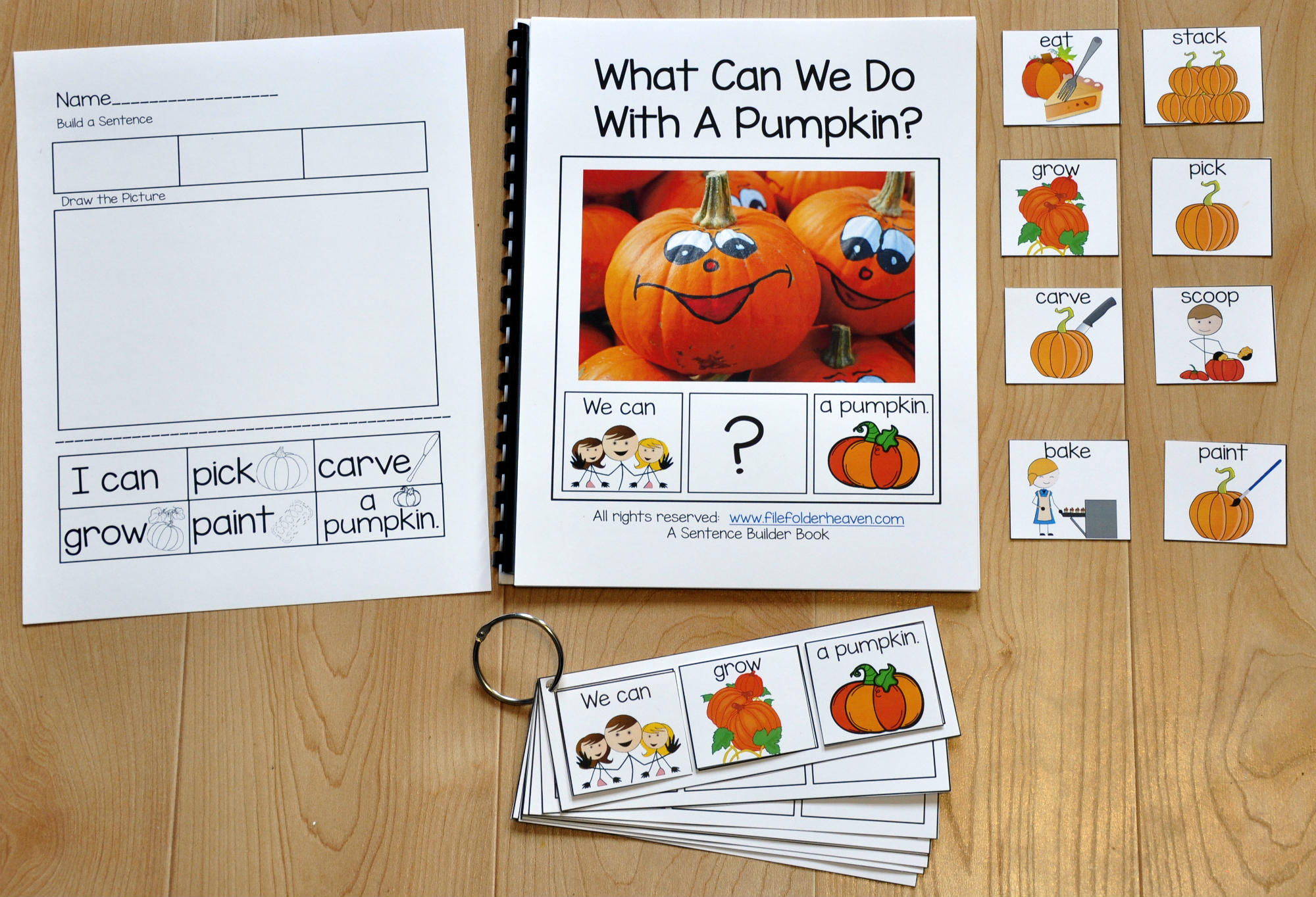 "Sentence Builder Adapted Book--""What Can We Do With A Pumpkin?"""